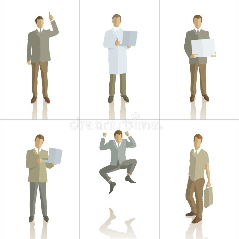 Vector silhouettes of business people color stock illustration