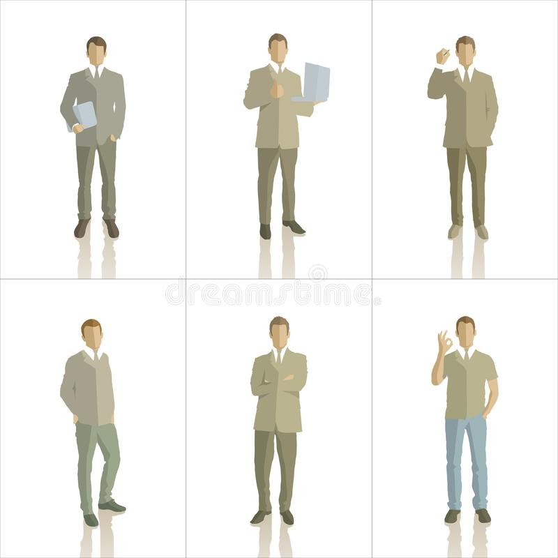 Vector silhouettes of business people color royalty free illustration