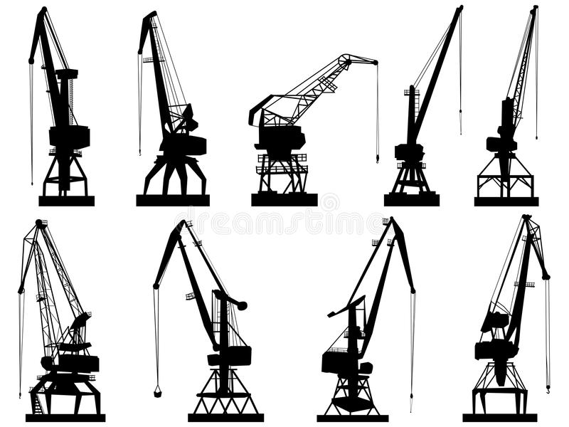 Vector silhouettes of cargo crane tower. vector illustration