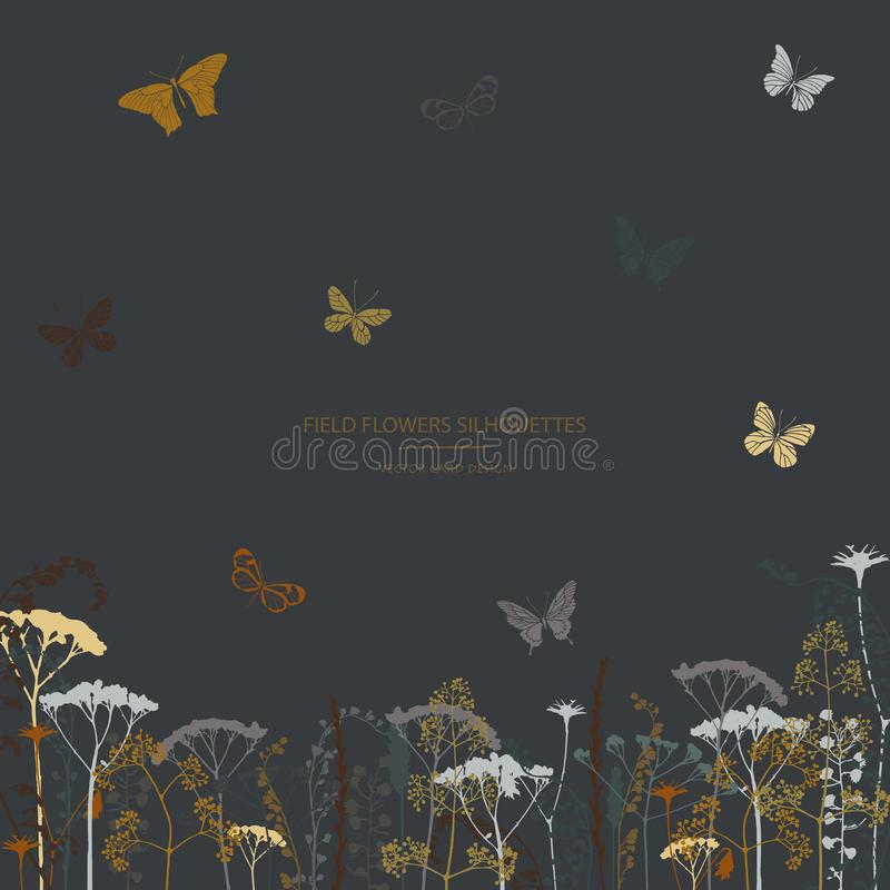 Set of field flowers, herb and butterflies. Card design. Label design vector illustration