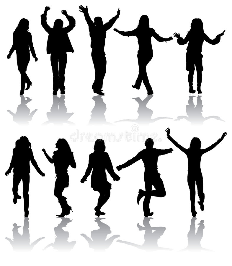 Free Vector Silhouettes Dancing Man And Women Stock Images - 1453194