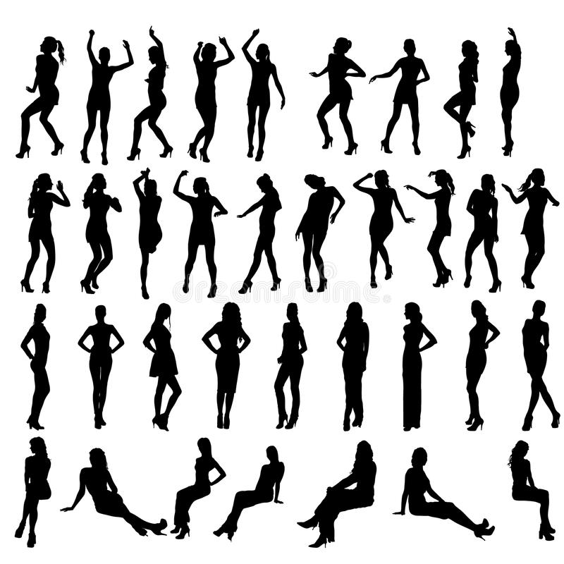 Vector silhouettes of dancing, standing and stock illustration