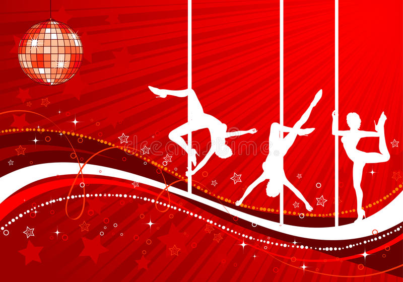 Vector silhouettes dancing women royalty free illustration
