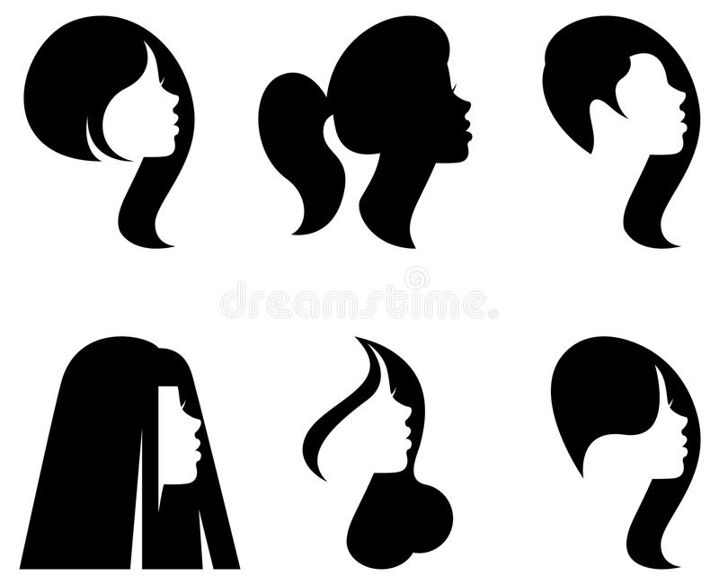Vector silhouettes of heads of women with different hairstyles stock illustration