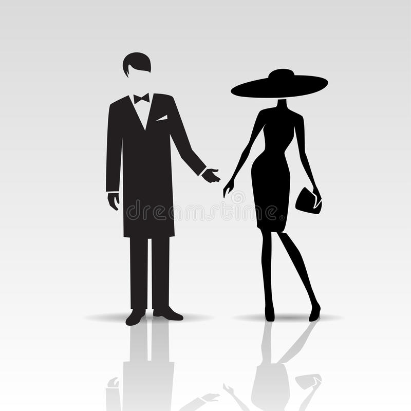 Vector silhouettes of lady and gentleman. Isolated on a white background stock illustration
