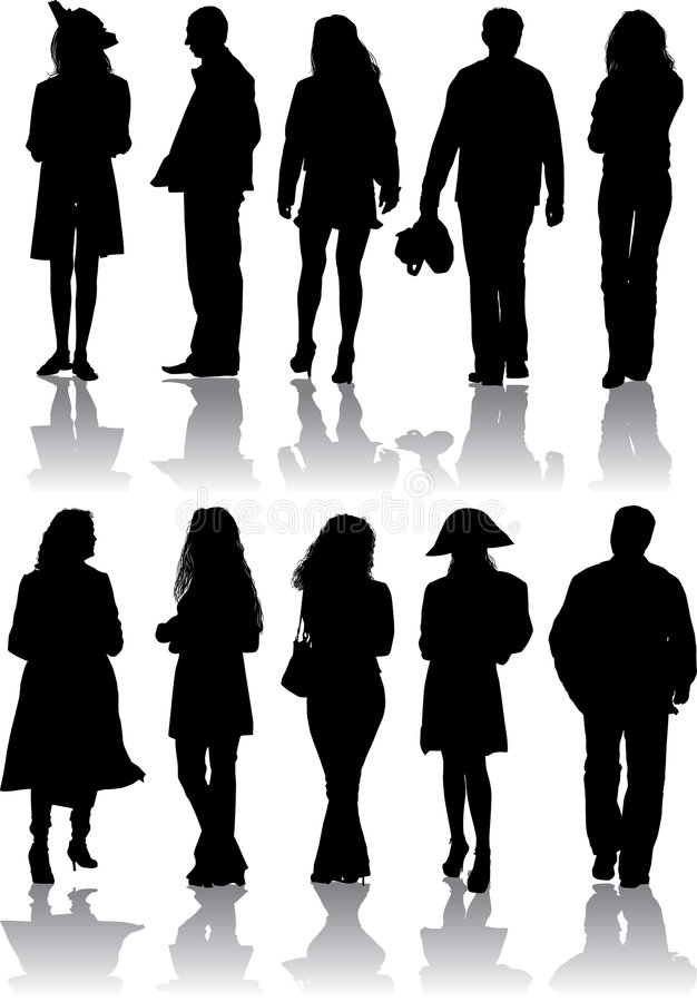 Vector silhouettes man and women stock photo