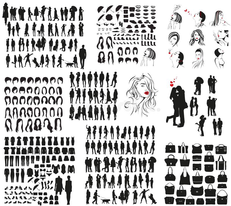 Free Vector Silhouettes Of Clothes, Men`s And Women`s Accessories Royalty Free Stock Images - 80267479