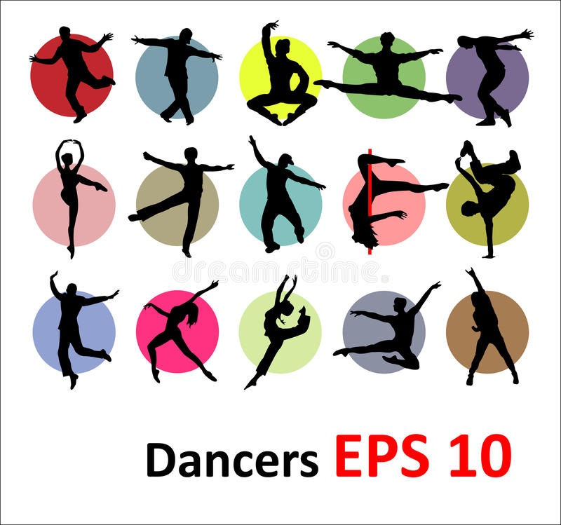 Free Vector Silhouettes Of Dancers Royalty Free Stock Photography - 29408317