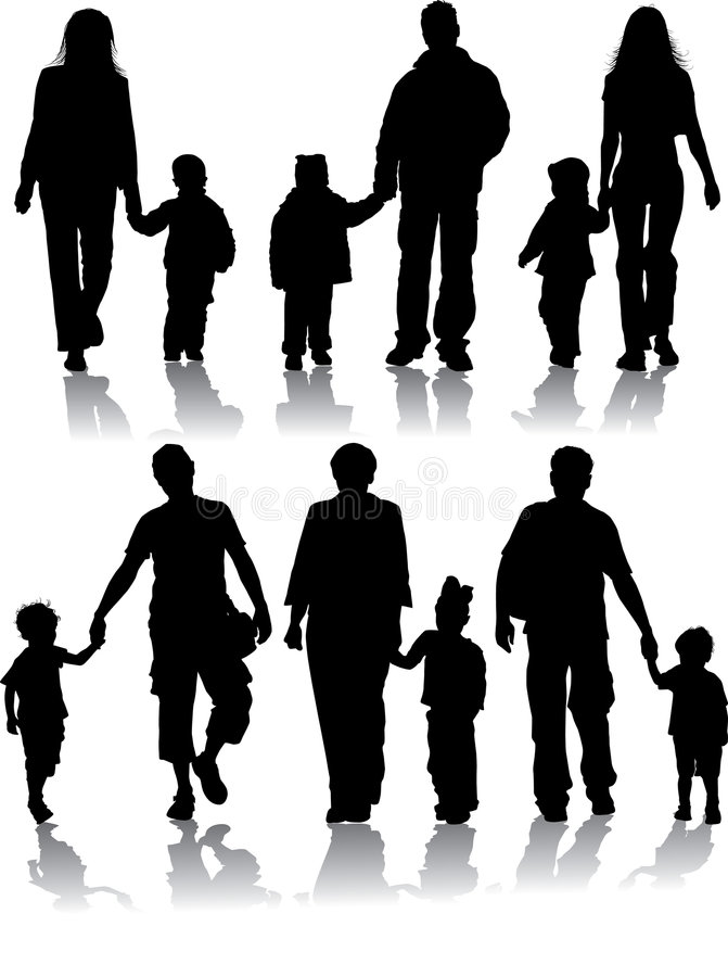 Download Vector Silhouettes Of Parents With Children Stock Vector - Illustration of mother, child: 1190046