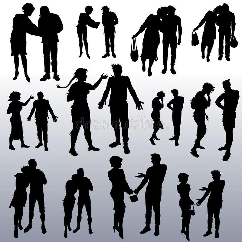Vector silhouettes of people of different ages. A collection of  silhouettes of people of different ages from young to elderly. Male-female couples with royalty free illustration
