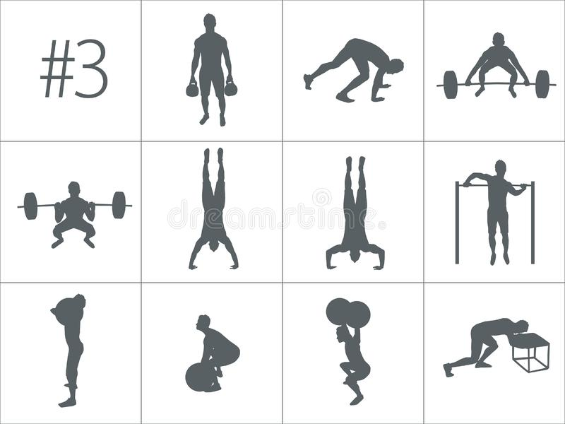 Vector silhouettes of people doing fitness and crossfit workouts stock illustration