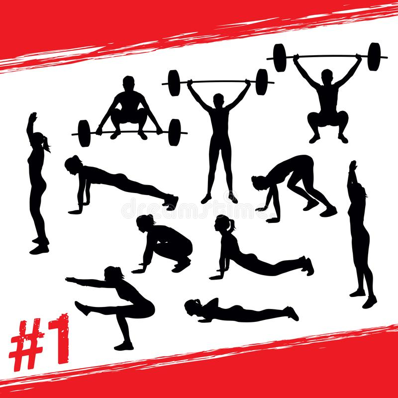 Vector silhouettes of people doing fitness and crossfit workouts royalty free illustration