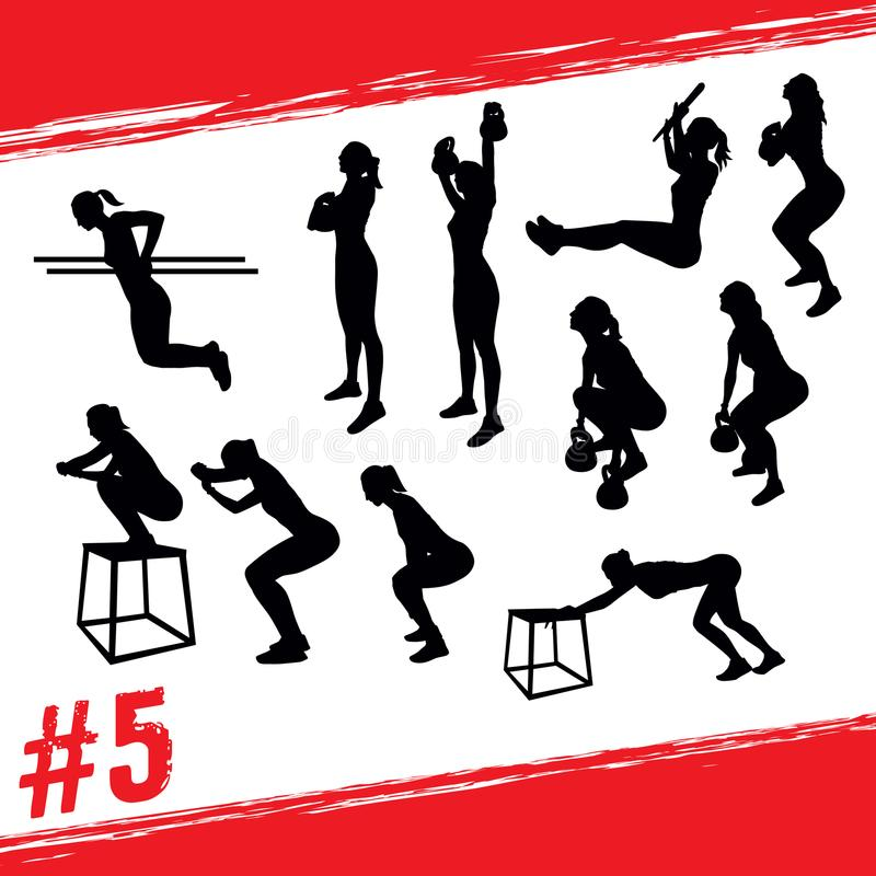 Vector silhouettes of people doing fitness and crossfit workouts vector illustration