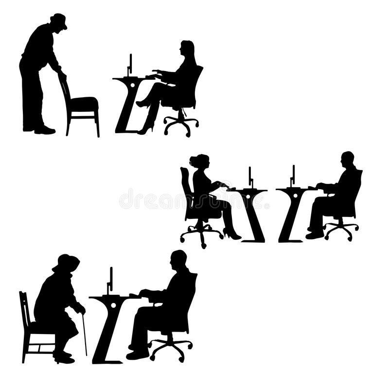Vector silhouettes of people in the office. stock illustration