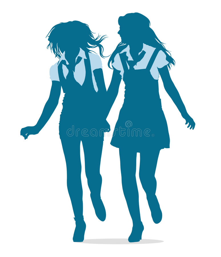 Silhouettes of teenage school girls running togeth stock photo