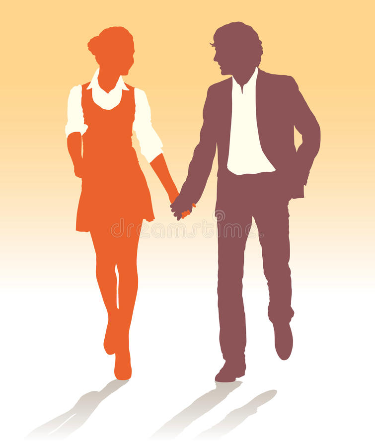 Silhouettes of teenagers couple walking together royalty free stock photos
