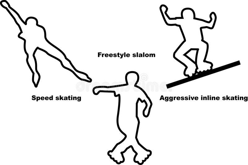 Vector silhouettes of three sportsmen roller skaters of different types stock illustration