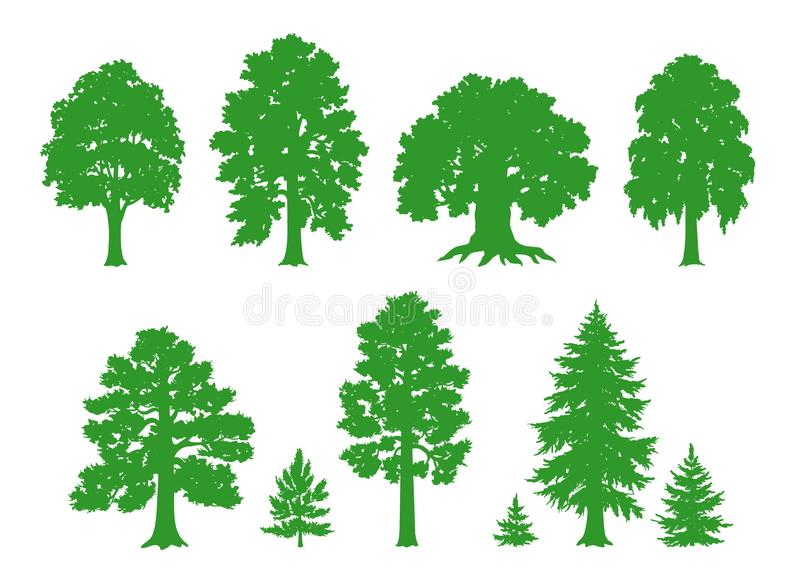 Vector silhouettes of trees royalty free illustration
