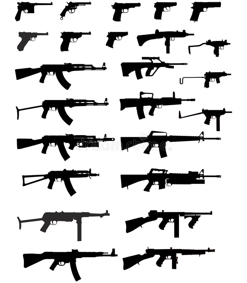 Vector silhouettes of weapons stock images