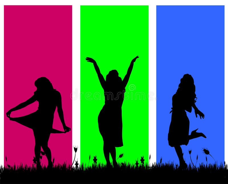 Vector silhouettes of women. Vector silhouettes of women on a colored background royalty free illustration