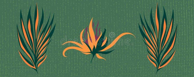 Vector a silhueta de uma flor fantástica pintada com folhas ilustração royalty free
