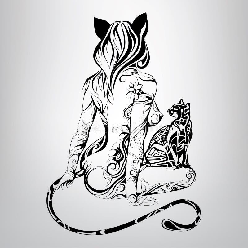 Vector a silhueta do gato da menina com um gato preto no ornamento