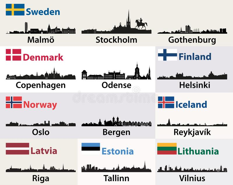 Vector silhuetas das skylines das cidades do escandinavo e dos países europeus nortes ilustração do vetor