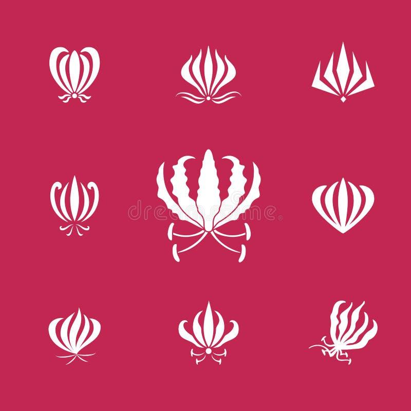 Vector silhuetas dos elementos da flor do lírio do gloriosa ou da chama ilustração royalty free