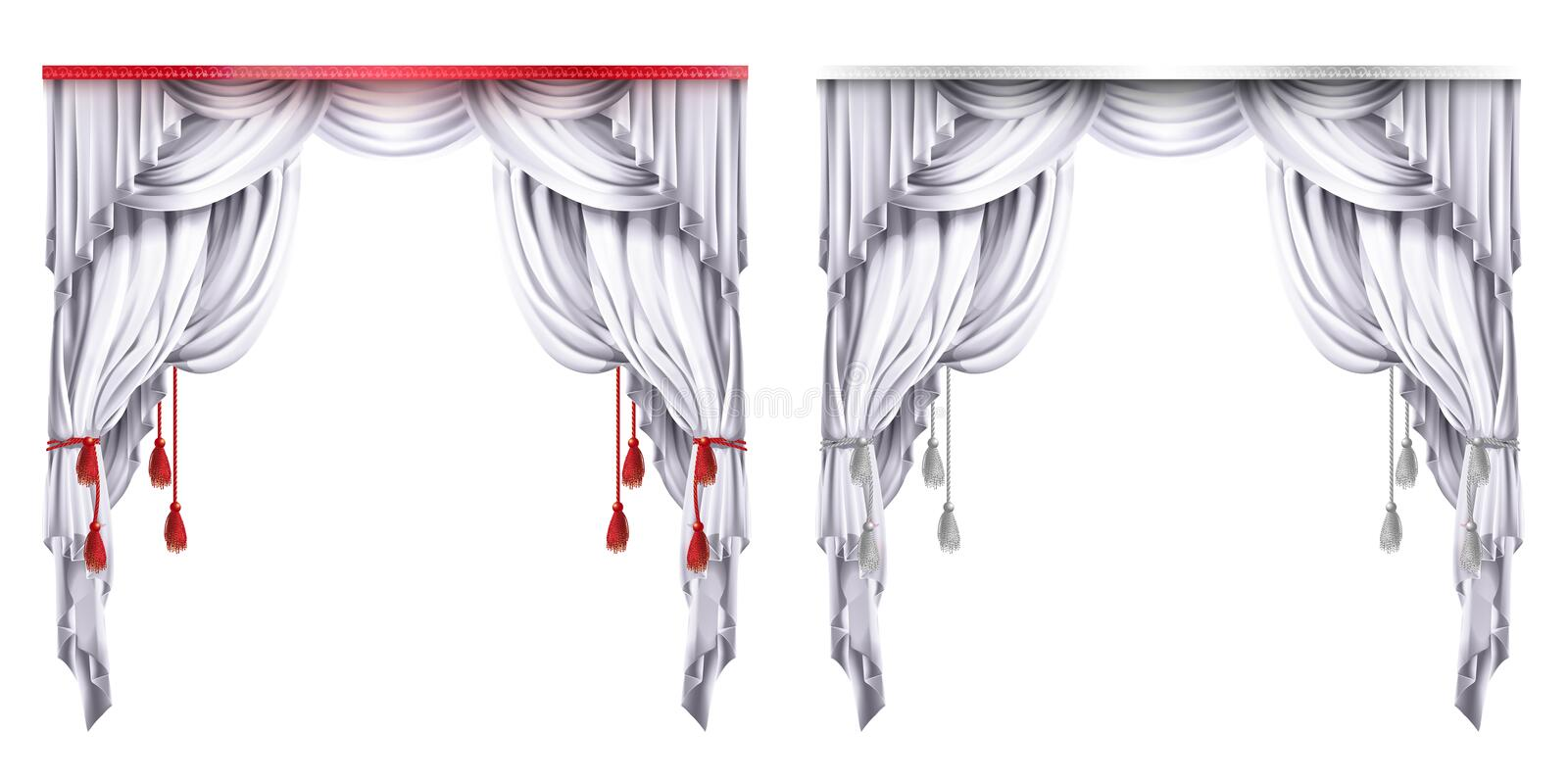 Vector silk, velvet drapes with red or white tassels. Theatrical curtain with folds.Concept for presentation, decoration. Vector silk, velvet drapes with red or stock illustration
