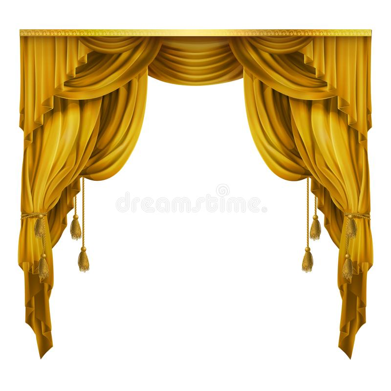 Vector silk, velvet theatrical curtain with folds, drape. Decoration element. Great concept for presentation, show. Vector silk, velvet theatrical curtain with stock illustration