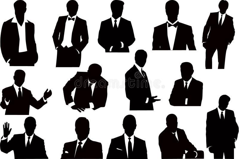 Vector sillhouettesinzameling van zakenlieden royalty-vrije illustratie
