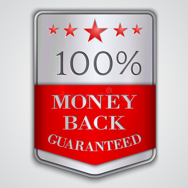 Vector silver badge label with money back. Vector silver and red badge with with money back guaranteed text vector illustration