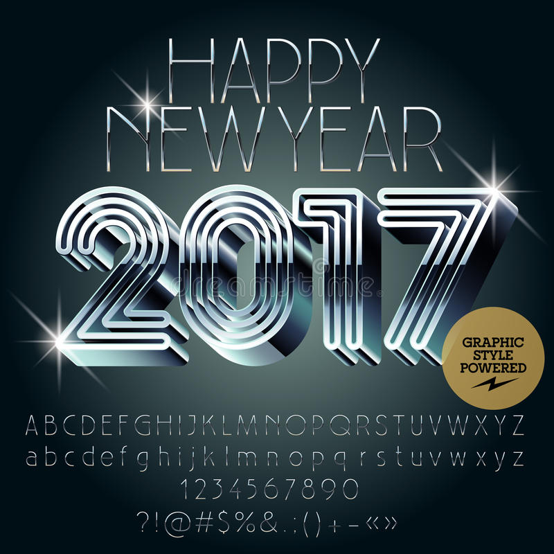 Vector silver futuristic Happy New Year 2017 greeting card royalty free illustration