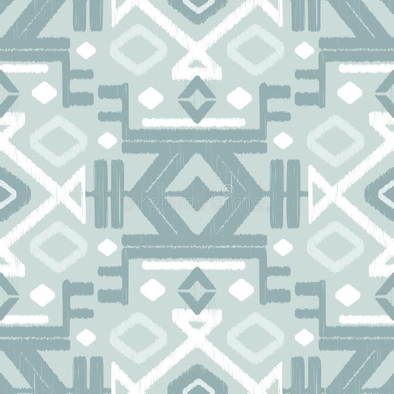 Vector silver gray ikat seamless pattern stock illustration