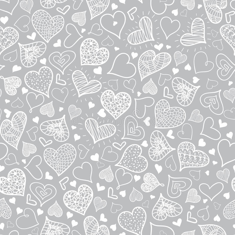 Vector Silver Grey Doodle Hearts Seamless Pattern Design Perfect for Valentine s Day cards, fabric, scrapbooking stock illustration