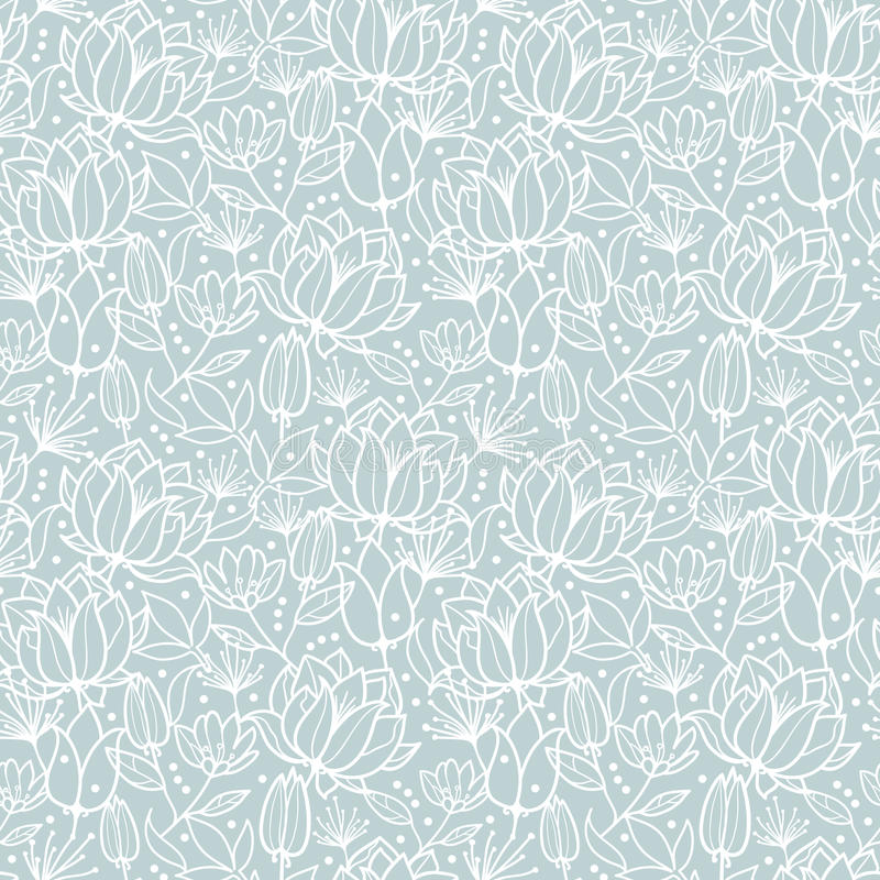 Vector silver grey spring flowers texture seamless repeat pattern bacgkround design. Great for springtime greeting cards. Invitations, wedding, fabric stock illustration