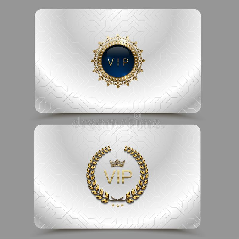 Vector silver metallic vip card presentation. VIP membership or discount card with golden crown, laurel wreath. Luxury club ticket vector illustration