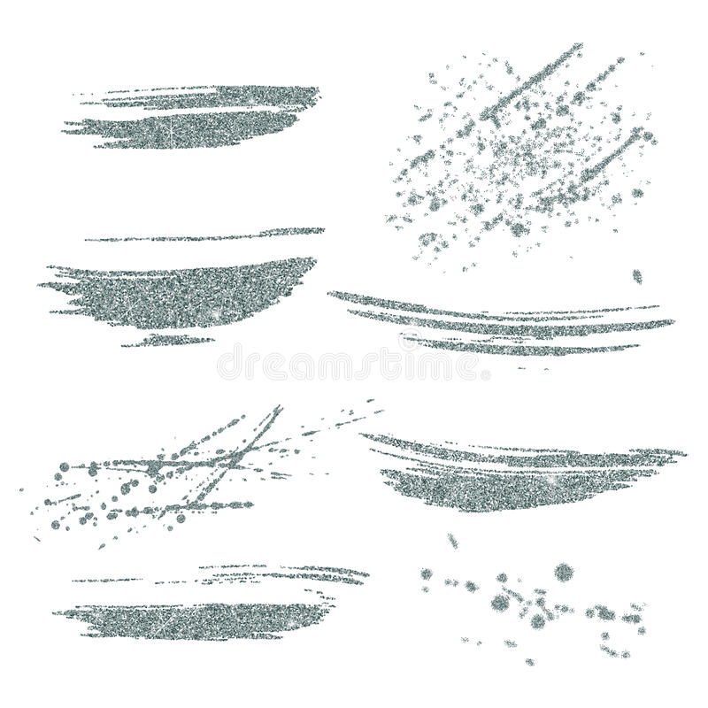 Vector silver paint smears set. Silver glitter element on white background. Silver shiny paint stroke. Abstract silver glitter stock illustration