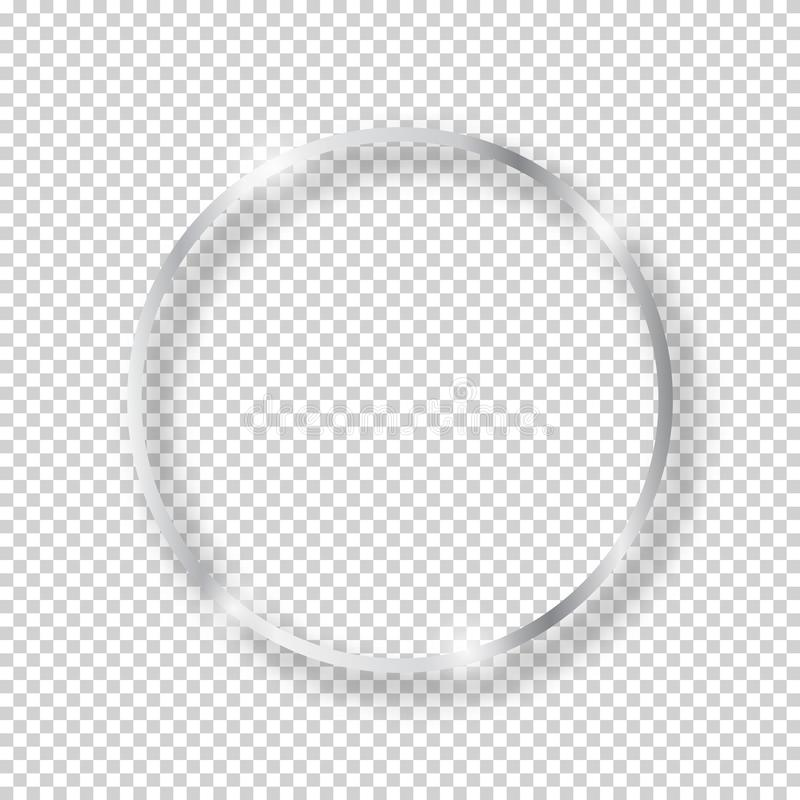 Free Vector Silver Shiny Vintage Round Frame Isolated On Transparent Background. Luxury Glowing Realistic Oval Stock Photos - 146596413