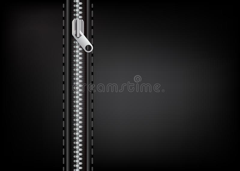 Vector silver zipper on a leather background. Is a general illustration vector illustration