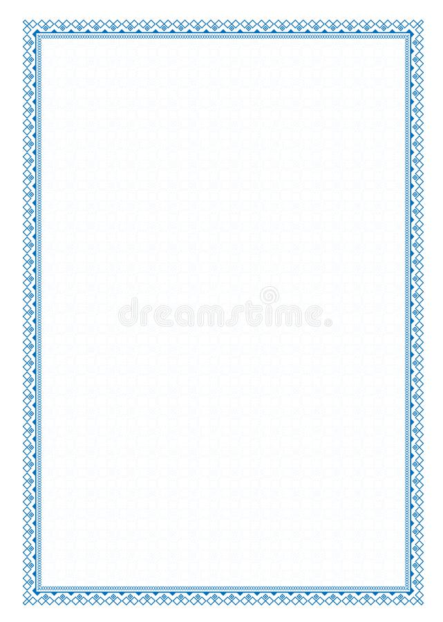 Vector simple blue frame Border with protective mesh for diploma, certificate.  stock illustration