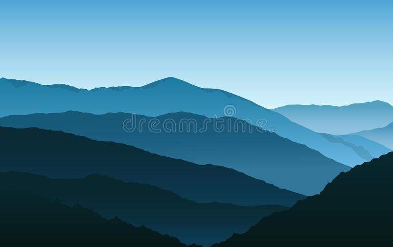 Vector simple blue silhouettes of misty mountains and hills vector illustration