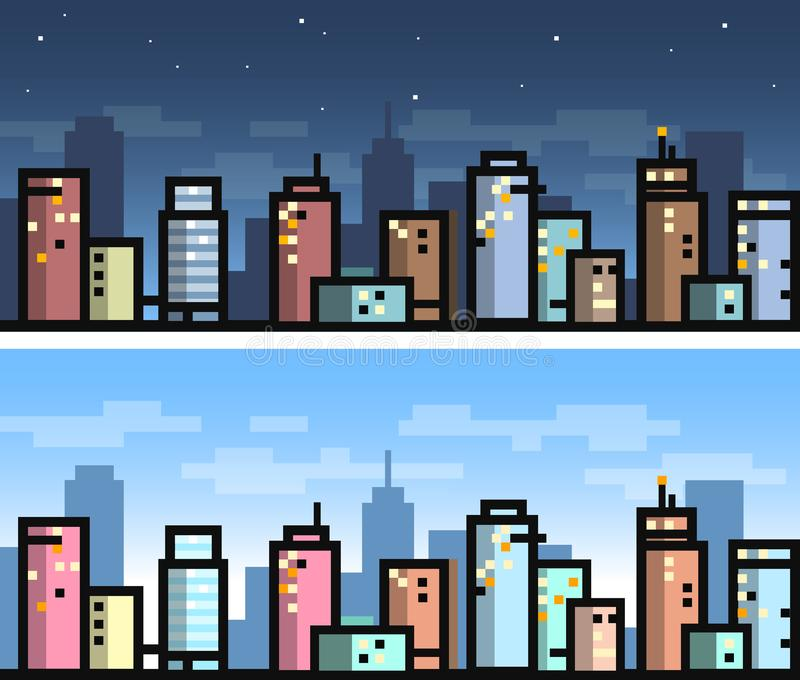 Vector simple city seamless landscape for game background - day and night version stock illustration