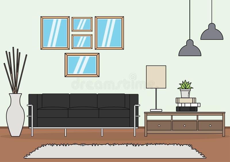 Vector simple de la sala de estar stock de ilustración