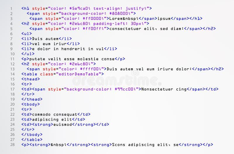 Vector simple del código del HTML Etiquetas abstractas coloridas del programa en la opinión del desarrollador Pantalla del sintax stock de ilustración