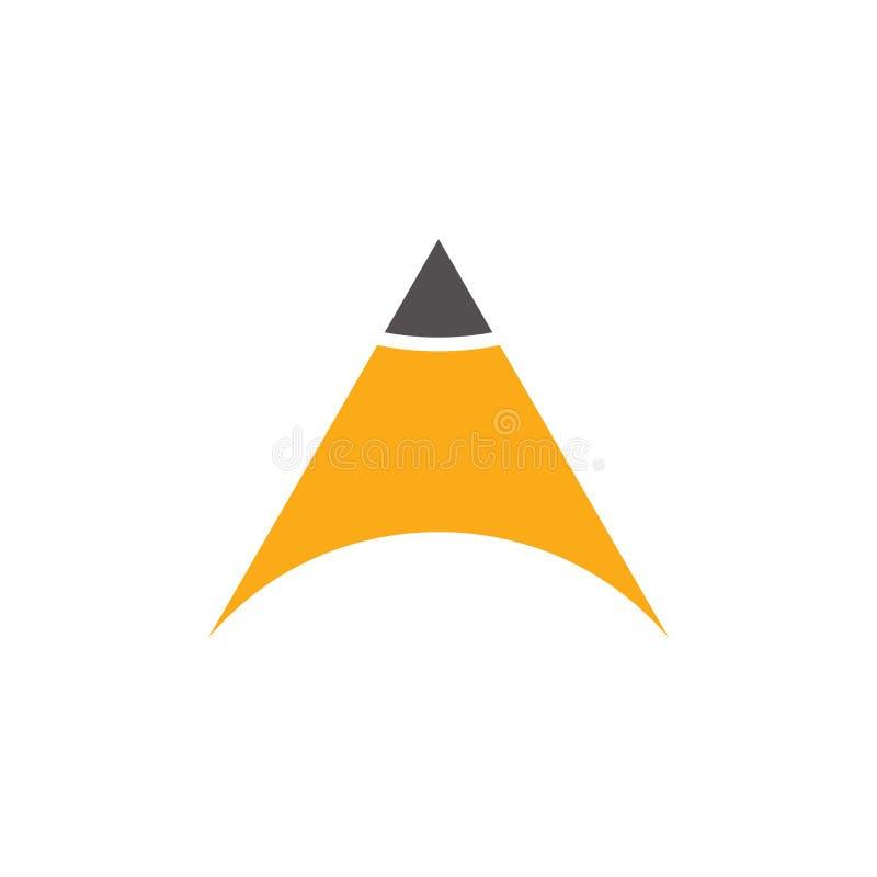Vector simple del logotipo de la educación del lápiz de la flecha del triángulo ilustración del vector