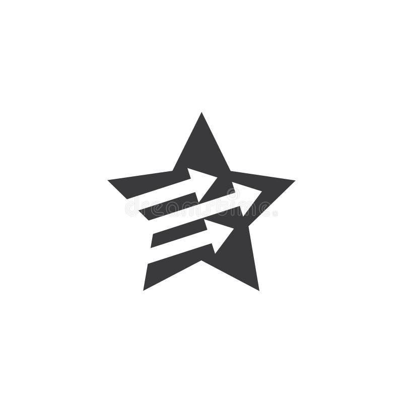 Vector simple del logotipo de la estrella de la flecha geom?trica del movimiento ilustración del vector