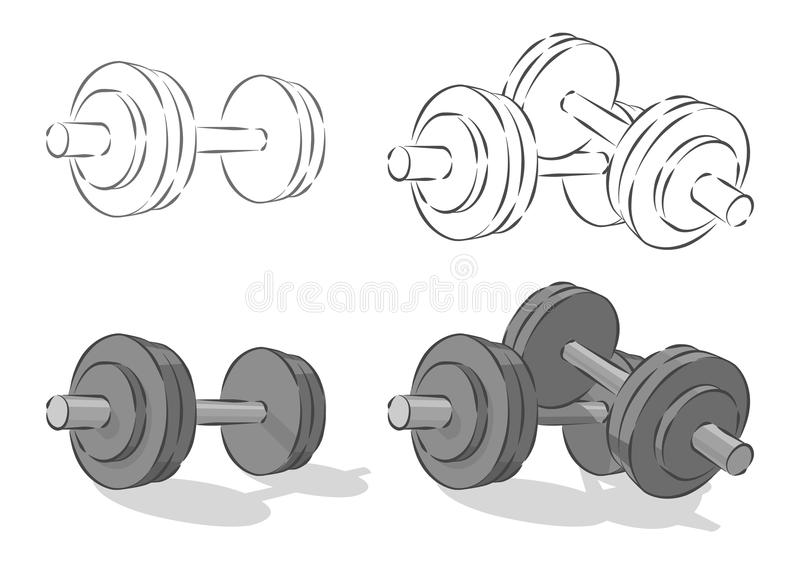 Vector simple dumbbells. Isolated on white background royalty free illustration