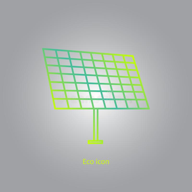 Vector simple eco related outline gradient icon of solar panel. Alternative renewable electricity generation. vector illustration