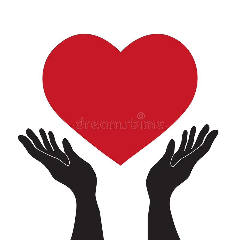 Vector simple flat black hands holding red heart icon, love romance or health care concept royalty free illustration